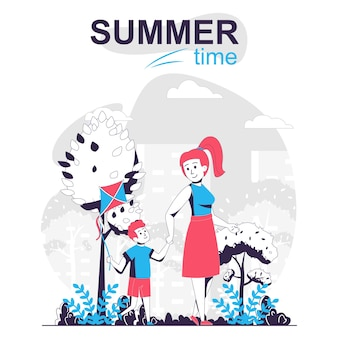 Concetto di cartone animato isolato attività estiva madre e figlio che camminano insieme nel parco