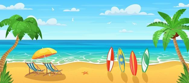 Estate sulla spiaggia con molte tavole da surf. cartone animato palme e piante intorno.