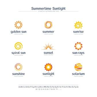 Insieme di simboli creativo di luce solare di estate, concetto della fonte. raggi di sole a spirale, logo astratto business solarium. alba estiva, icona stella d'oro.