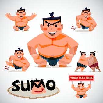 Illustrazione del set di caratteri di sumo