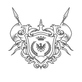 Sontuoso stemma isolato su bianco