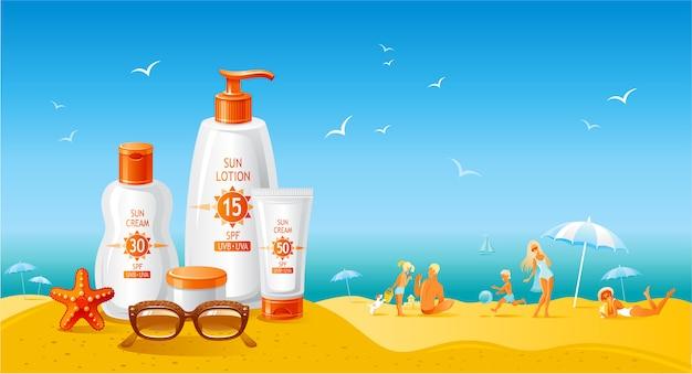 Panorama della spiaggia di sole con bottiglie di crema solare. annuncio estivo di prodotto uv per protezione solare. lozione cosmetica per la cura della pelle. sfondo piatto stile di vita sano.
