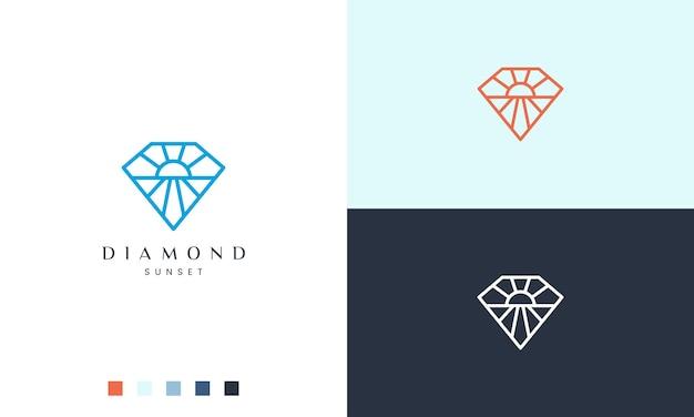 Logo del sole o della spiaggia a forma di diamante con uno stile semplice e moderno