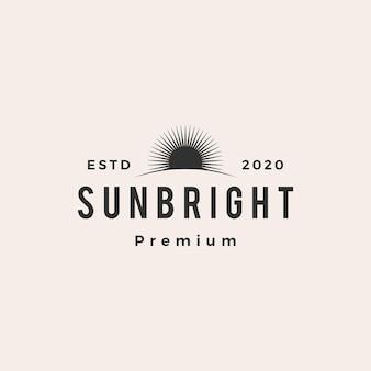 Sun luminoso hipster logo vintage icona vettore illustrazione