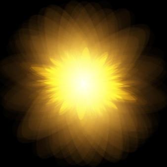 Esplosione di scoppio del sole sole giallo vettoriale con raggi e bagliore su sfondo nero Vettore Premium