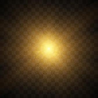 Esplosione di scoppio del sole sole giallo vettoriale con raggi e bagliore su sfondo nero