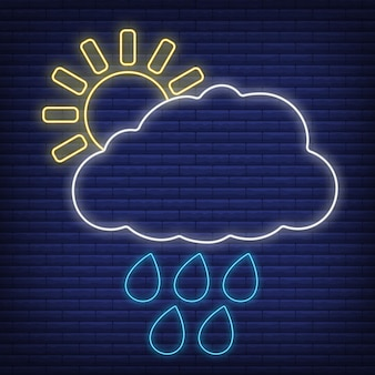 Nuvola di sole con icona di pioggia bagliore in stile neon, concetto di condizioni meteorologiche contorno piatto illustrazione vettoriale, isolato su nero. sfondo di mattoni, roba etichetta clima web.