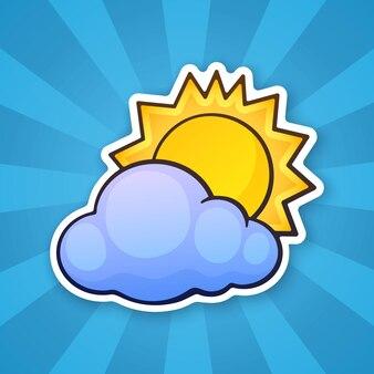 Il sole è scomparso dietro una nuvola simbolo del tempo illustrazione vettoriale