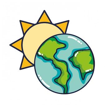 Cartone animato di sole e terra