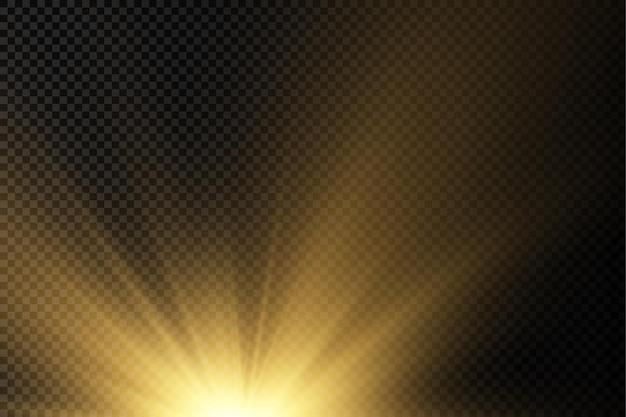 Esplosione del sole, bagliore giallo, luci, raggi del sole, bagliore, effetto speciale, scintille magiche, stella dorata