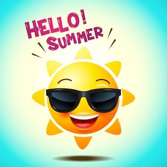 Icone di faccia di sole o facce gialle e divertenti in realistico. emoji ciao estate. illustrazione vettoriale