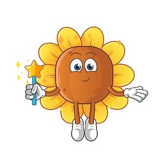 Fata dei fiori di sole con ali e personaggio stilizzato