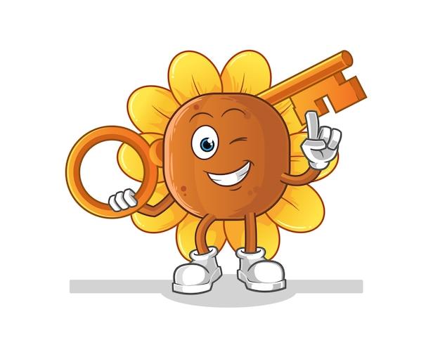 Fiore del sole che tiene un'illustrazione chiave