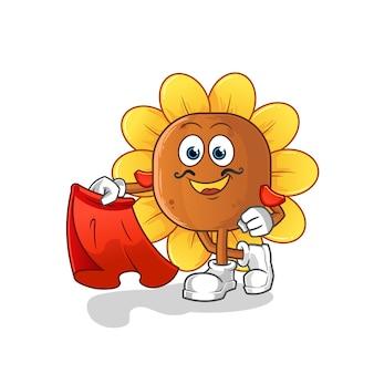 Matador di fiori di sole con illustrazione di panno rosso