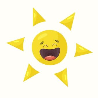 Il sole sta ridendo. illustrazione vettoriale in stile piatto
