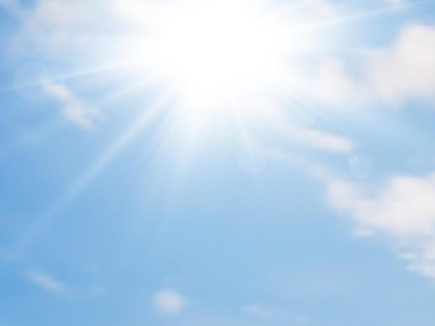 Luce del sole e cielo azzurro con nuvole. sfondo estivo. illustrazione vettoriale