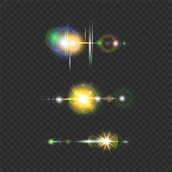Insieme del fascio di luce solare riflesso lente