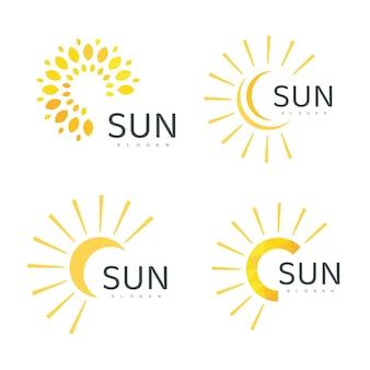 Sun logo template icon design illustration