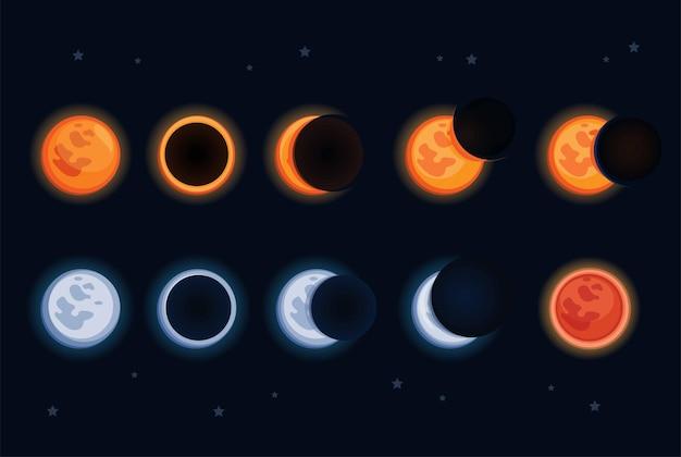 Set collezione astronomia eclissi lunari sole e luna sun
