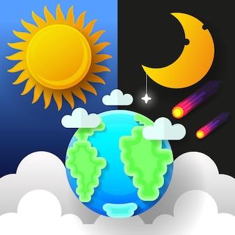 Sole, luna e stelle. bandiere di vettore di giorno e notte isolate.