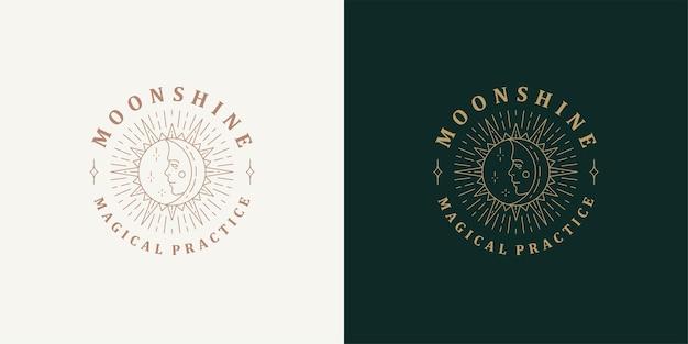 Sole e luna con modello logo volto femminile lineare