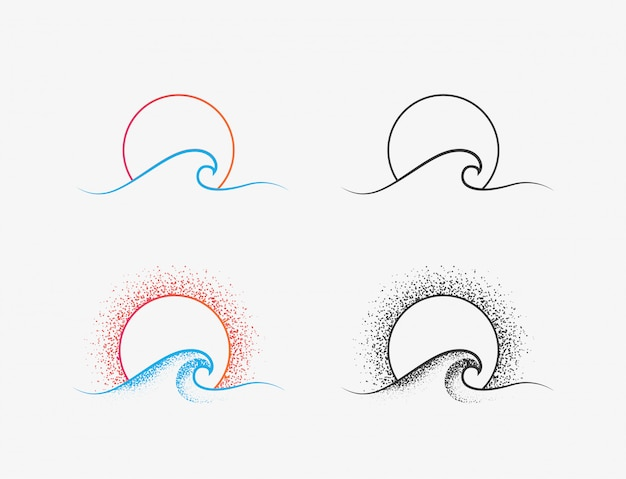 Logo dell'onda del sole e dell'oceano o disegno dell'icona nelle versioni colorate e nere. icona di sottile linea minimalista di vacanza estiva o surf isolato su priorità bassa bianca. illustrazione