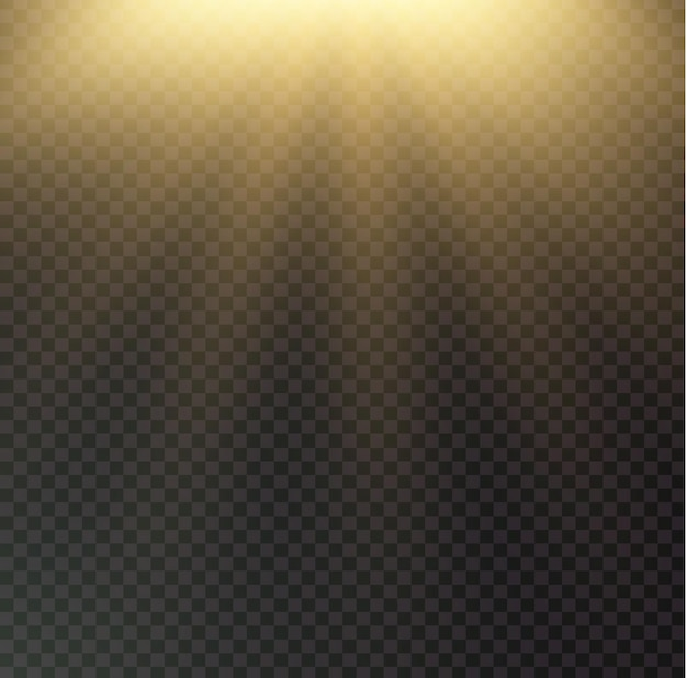 Raggi di sole su sfondo nero trasparente. splendente brillante
