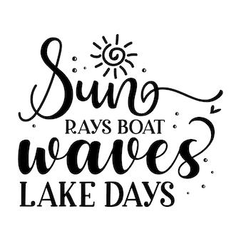 La barca dei raggi del sole ondeggia i giorni del lago tipografia modello di preventivo di disegno vettoriale premium