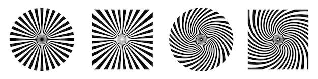 Raggi di sole o starburst. elementi di disegno astratto forma di starburst isolata. illustrazione vettoriale scoppio, raggi o raggi.