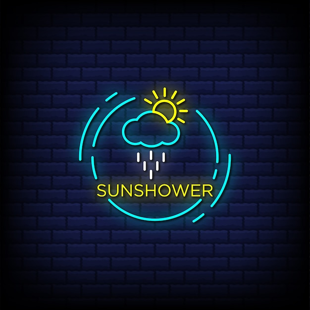 Testo in stile insegna al neon di doccia solare