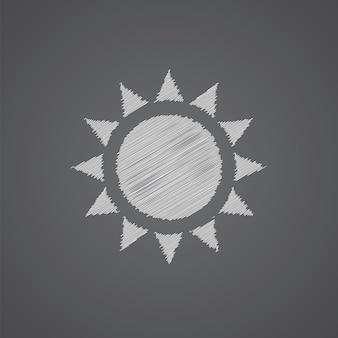 Icona di doodle del logo di schizzo del sole isolata su sfondo scuro