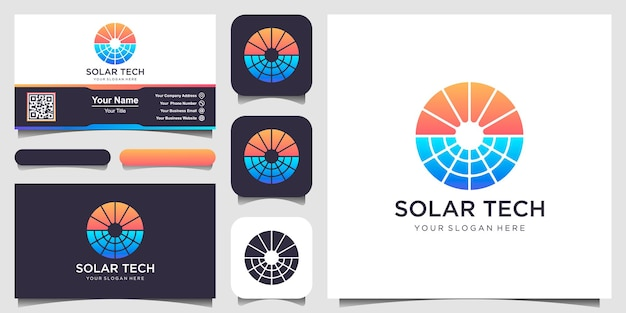 Modello di progettazione del logo dell'energia solare del sole disegni del logo della tecnologia solare ispirazione per il design del logo dell'idea