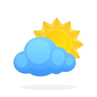 Il sole con i raggi triangolari è scomparso dietro una nuvola isolata sfondo bianco illustrazione vettoriale