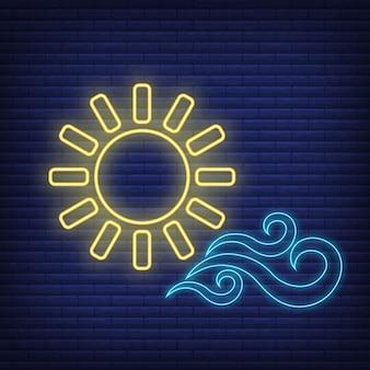 Il sole con l'icona del vento si illumina in stile neon, l'illustrazione piana di vettore del profilo delle condizioni atmosferiche di concetto, isolata sul nero. sfondo di mattoni, roba etichetta clima web.