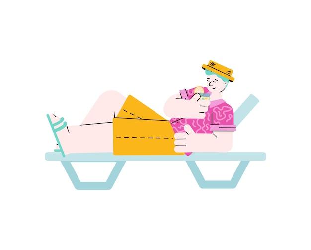 Uomo che prende il sole sul lettino da spiaggia con l'illustrazione di vettore di schizzo della bevanda isolata