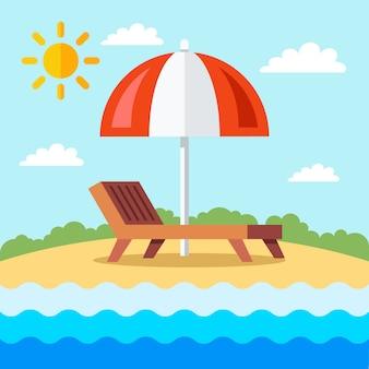 Lettino con ombrellone in spiaggia con sabbia. illustrazione.