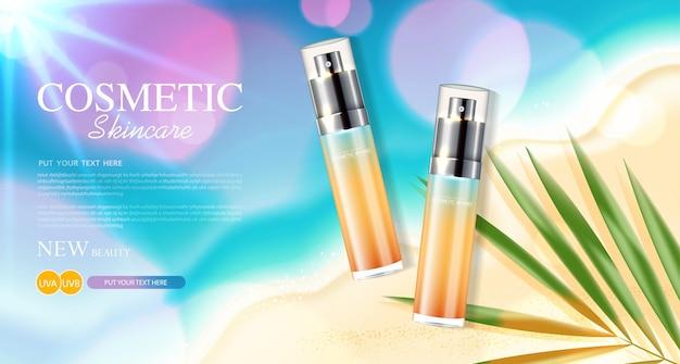 Modello di annunci sunblock design di prodotti cosmetici per la protezione solare con crema idratante o liquido
