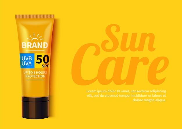 Modello di annunci di protezione solare, design di prodotti cosmetici per la protezione solare con crema idratante o liquido.