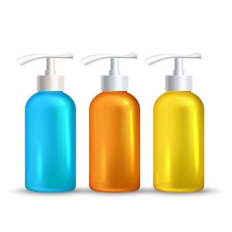 Flaconi liquidi per la cura della pelle schiumosi sunblock