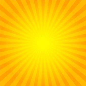 Sunburst sfondo arancione con raggi di sole gialli.