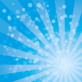 Reticolo di vettore del fondo dello sprazzo di sole con la tavolozza di colori blu del disegno a strisce radiali roteato.