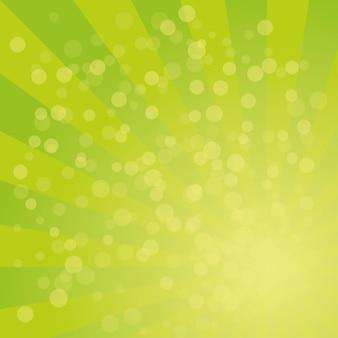 Reticolo di vettore del fondo dello sprazzo di sole con la tavolozza di colori dell'erba verde del disegno a strisce radiali roteato.