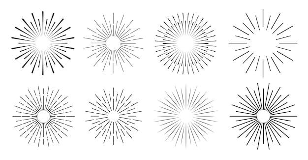 Strisce radiali dell'elemento a raggi di sole o sfondi a raggi di sole