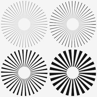 Elemento a raggiera. starburst, strisce radiali. set di raggio, raggio. illustrazione vettoriale.