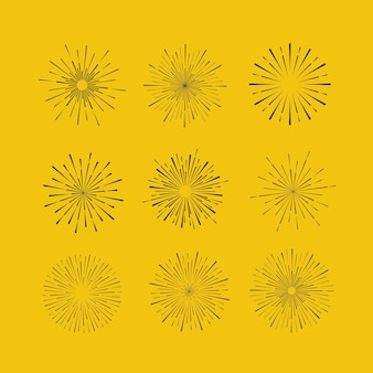 Sprazzo di sole su sfondo giallo elementi di design cornice tribale boho oro sunburst starburst hipster logo linea arte illustrazione vettoriale di fuochi d'artificio