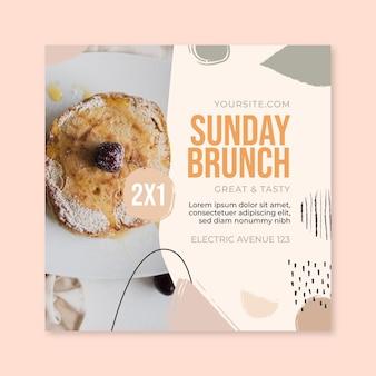 Modello di volantino quadrato del ristorante di cibo del brunch della domenica