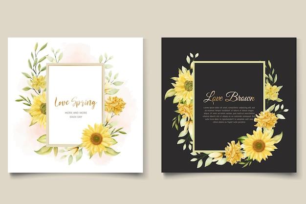 Set di carte invito floreale girasole