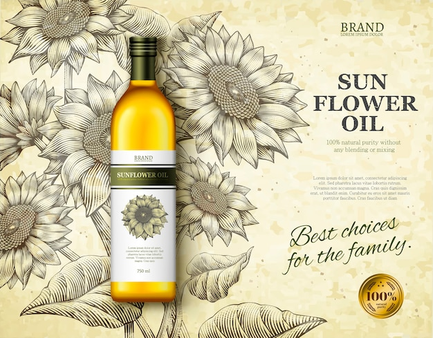 Annunci di olio di girasole, olio da cucina squisito nell'illustrazione con girasoli in stile ombreggiatura retrò