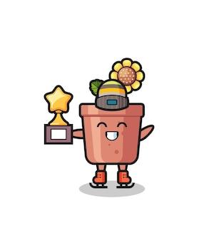 Il fumetto del vaso di girasole come un giocatore di pattinaggio sul ghiaccio tiene il trofeo del vincitore, un design in stile carino per t-shirt, adesivo, elemento logo