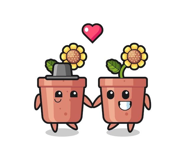Coppia di personaggi dei cartoni animati di vaso di girasole con gesto di innamoramento, design in stile carino per maglietta, adesivo, elemento logo